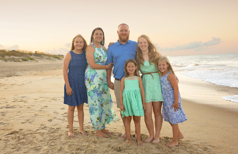 Your Central Virginia newborn baby photographer & family photographer beach portrait nags head NC, aqua and periwinkle, sunset