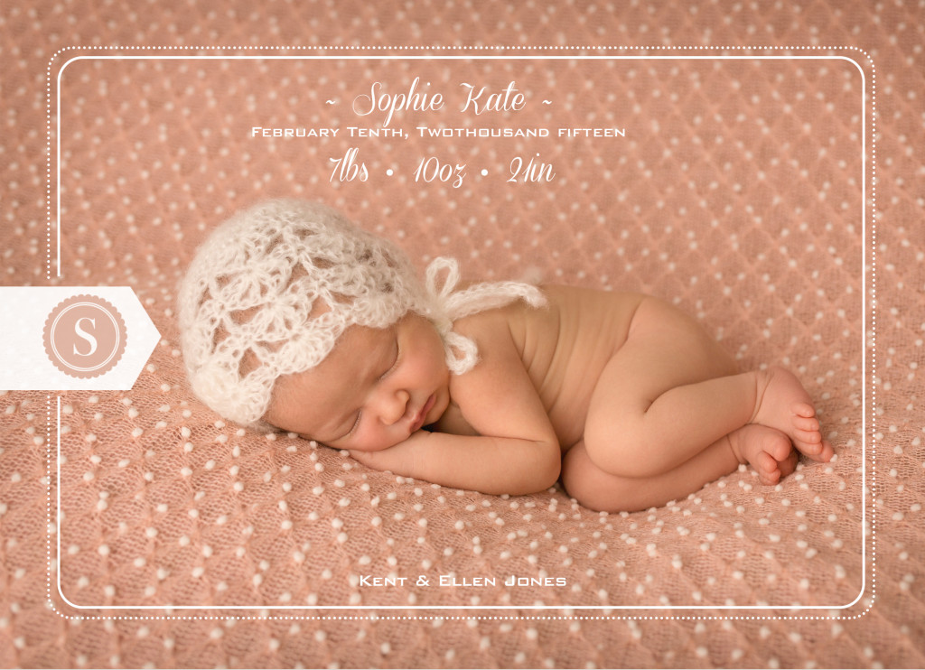 Custom Classic Birth Announcements | Central Virginia Baby Photographer