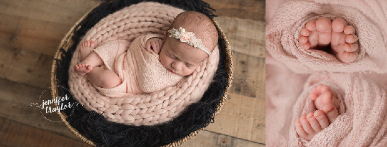 Newborn photography in Richmond VA, baby girl newborn, wrapped in pink wrap on navy, round wood wicker basket, toes showing, headband lemon and pearl, toes pose