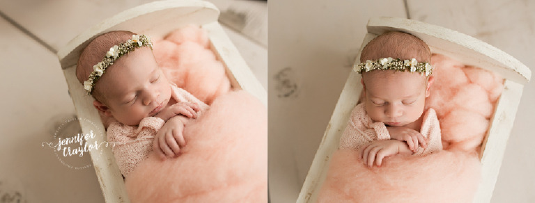 Newborn photography in Richmond VA, Baby halo with cream flowers from vanilla lullaby, pink fluff from oh so fleeting, and white birch cradle from jennley studio props