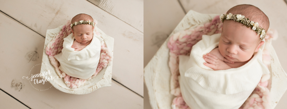 Newborn photography in Richmond VA, pink and cream mini blanket thick and thin by ali and luna, jennley studio props whitewashed deep bowl, cream floral halo by vanilla lullaby, curly ruffle wrap, cream planks amanda floor mat from fancy fabrics