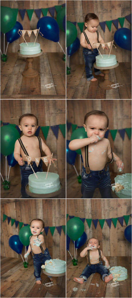 Smash Cake photos Richmond VA, Birthday Portraits | Cake Smashing | Bubble Bath Fun | Woodlake,  VA, navy, green, wood backdrop, suspenders, one, first birthday,