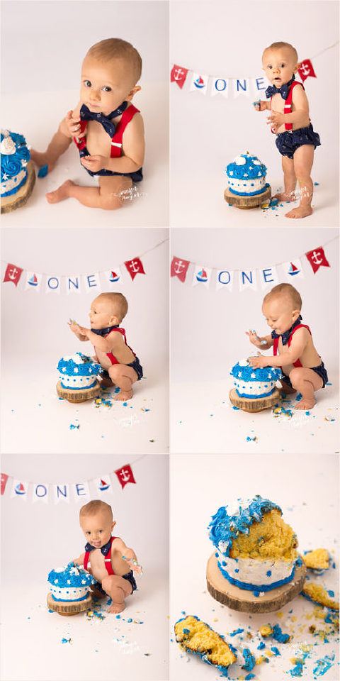 Cake smash photography Richmond VA navy and red with boats baby boy cake smash